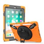360° Swivel Kickstand PC + Silicone Combo Tablet Case with Handy Strap for iPad 9.7-inch (2018) – Orange
