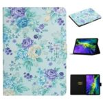 Flower Pattern Printing Card Holder Stand Leather Case for Apple iPad Pro 11-inch (2020)/(2018) – Purple Flower