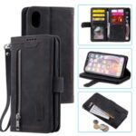 Zipper Wallet with 9 Card Slots Leather Phone for Apple iPhone XS Max 6.5 inch – Black