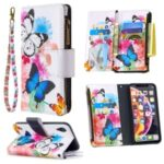 BF03 Pattern Printing Zipper Wallet Leather Phone Cover for iPhone XR 6.1 inch – Blue and White Butterfly