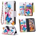 BF03 Pattern Printing Zipper Wallet Leather Protective Shell for iPhone XS Max 6.5 inch – Blue and White Butterfly