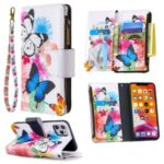 BF03 Pattern Printing Zipper Wallet Leather Phone Case for iPhone 11 Pro Max 6.5 inch – Blue and White Butterfly