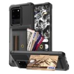 Phone Case with Card Slot and Elastic Finger Ring Strap Shell for Samsung Galaxy S20 Ultra – Black