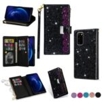 Glittery Starry Style Laser Carving Zipper Wallet Stand Leather Cover for Samsung Galaxy S20 – Black