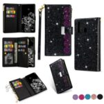 Glittery Starry Style Laser Carving withZipper Leather Shell for Samsung Galaxy A21 – Black