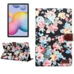 Blooming Flower Cloth Smart Leather Cover for Samsung Galaxy Tab S6 Lite P610/P615 – Black