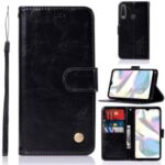 Vintage Premium PU Leather Wallet Stand Mobile Case for Samsung Galaxy A70e – Black