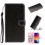 Flash Powder Leather Stand Shell for Samsung Galaxy A41 (Global Version) – Black