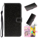 Flash Powder Leather Cover with Card Slots for Samsung Galaxy M31 – Black