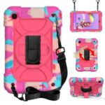 Rainbow Style 360° Swivel Handy Strap Kickstand PC Silicone Tablet Shell with Shoulder Strap for Samsung Galaxy Tab A 8.4 (2020) – Rainbow/Rose