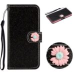 Glitter Powder Flower Decor Leather Stand Wallet Case for Samsung Galaxy S20 Ultra – Black