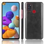 Litchi Skin Leather Coated PC Back Shell for Samsung Galaxy A21s – Black