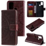 Imprint Flower Leather with Wallet Stand Case for Samsung Galaxy M31 – Brown