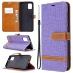 Assorted Color Jeans Cloth Leather Stylish with Wallet Case for Samsung Galaxy A31 – Purple