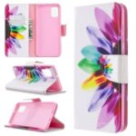 Pattern Printing Leather Wallet Protective Case for Samsung Galaxy A31 – Colorful Petal