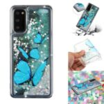 Pattern Printing Glitter Powder Quicksand TPU Protective Case for Samsung Galaxy S20 – Butterfly