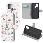 Pattern Printing PU Leather Wallet Stand Phone Cover for Samsung Galaxy M31 – Paris Eiffel Tower