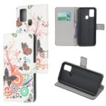 Pattern Printing PU Leather Wallet Stand Phone Cover for Samsung Galaxy M31 – Butterflies and Circles