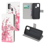 Pattern Printing PU Leather Wallet Stand Phone Cover for Samsung Galaxy M31 – Plum Blossom