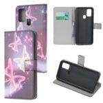 Protection Case Stylish Pattern Wallet PU Leather Cover for Samsung Galaxy M21 – Shiny Butterfly