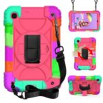Rainbow Style 360° Swivel Handy Strap Kickstand PC+Silicone Tablet Case with Shoulder Strap for Samsung Galaxy Tab A 8.4 (2020) SM-T307 – Rainbow/Rose