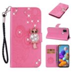Owl Imprint Rhinestone Decor Leather Phone Cover Case for Samsung Galaxy A21s – Rose
