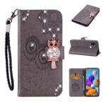 Owl Imprint Rhinestone Decor Leather Phone Cover Case for Samsung Galaxy A21s – Grey
