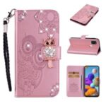 Owl Imprint Rhinestone Decor Leather Phone Cover Case for Samsung Galaxy A21s – Rose Gold