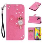 Owl Imprint Rhinestone Decor Leather Phone Stand Case for Samsung Galaxy M31 – Rose