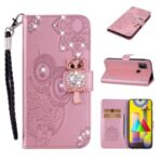 Owl Imprint Rhinestone Decor Leather Phone Stand Case for Samsung Galaxy M31 – Rose Gold