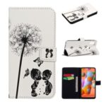 Embossed Pattern Printing Wallet Leather Stand Case for Samsung Galaxy A11 – Dandelion