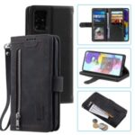 Zipper Pocket Wallet Casing Stand Flip Leather Protective Phone Cover for Samsung Galaxy A41 (Global Version) – Black