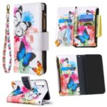 Pattern Printing Zipper Wallet Leather Case Phone Cover for Samsung Galaxy A21 –  Blue and White Butterfly