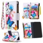 Pattern Printing Zipper Pocket 9 Card Slots Leather Wallet Case for Samsung Galaxy A41 (Global Version) – Three Butterflies