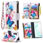 Patterned Zipper Wallet Leather Phone Case for Samsung Galaxy Note 10/Note 10 5G – Three Butterflies