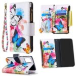 Pattern Printing Stand Wallet Zipper Leather Protective Case for Samsung Galaxy A71 SM-A715 – Butterfly and Flower