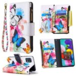 Pattern Printing Leather Mobile Case with Zipper Wallet for Samsung Galaxy A51 SM-A515 – Butterfly and Flower
