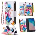 Pattern Printing Zipper Wallet Leather Phone Case for Samsung Galaxy S10 – Butterfly and Flower