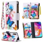 Patterned Zipper Wallet Leather Phone Case with Strap for Samsung Galaxy A70 – Three Butterflies