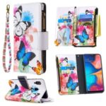 Patterned Zipper Leather Wallet Phone Case with Strap for Samsung Galaxy A20/A30 – Three Butterflies