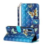 Light Spot Decor Patterned Embossed Leather Wallet Case with Strap forSamsung Galaxy A70/A70s – Butterfly