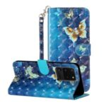 Light Spot Decor Pattern Embossed Leather Case Wallet for Samsung Galaxy S20 Ultra – Butterfly