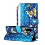 Light Spot Decor Pattern Printing Wallet Stand Leather Phone Case for Samsung Galaxy Note 10 – Butterfly
