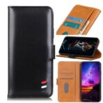 Tricolor Strip Auto-absorbed Split Leather Wallet Case for Samsung Galaxy Note 20 Plus – Black