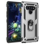 Ring Kickstand Armor Case PC+TPU Combo Mobile Shell for LG Stylo 6 – Silver