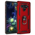 Ring Kickstand Armor Case PC+TPU Combo Mobile Shell for LG Stylo 6 – Red