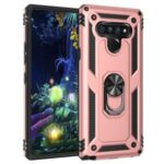Ring Kickstand Armor Case PC+TPU Combo Mobile Shell for LG Stylo 6 – Rose Gold