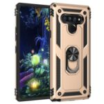 Ring Kickstand Armor Case PC+TPU Combo Mobile Shell for LG Stylo 6 – Gold