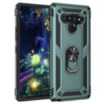 Ring Kickstand Armor Case PC+TPU Combo Mobile Shell for LG Stylo 6 – Green