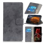 Retro PU Leather Flip Case Wallet Stand Mobile Phone Case for LG Velvet – Grey